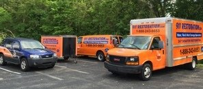 Water Damage Restoration Trucks And Van with Trailer